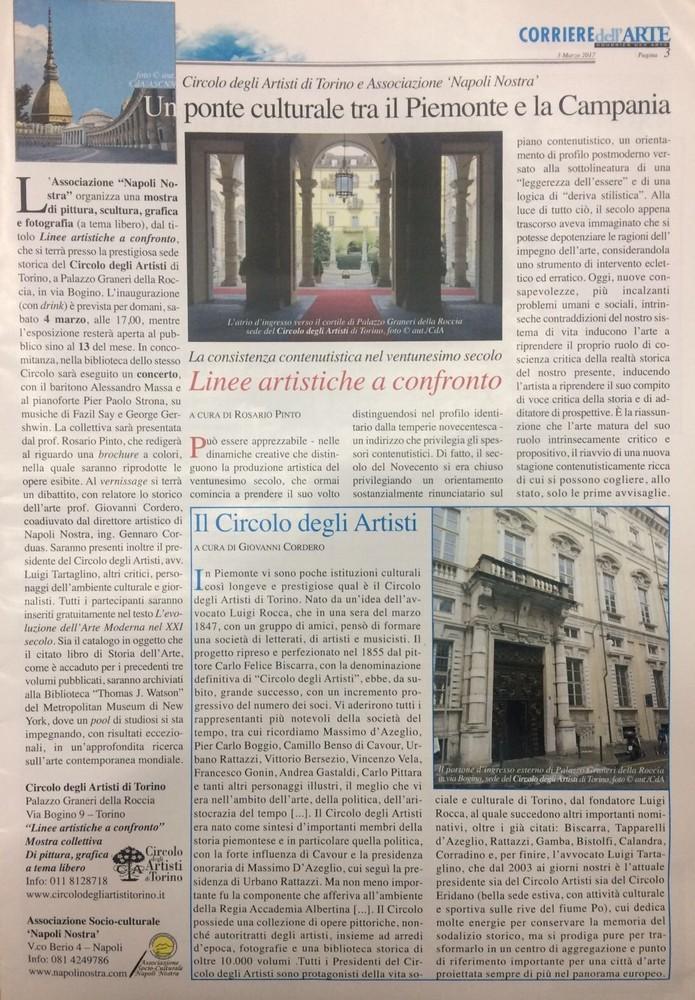 Pubblicazione sul Corriere Dell'Arte